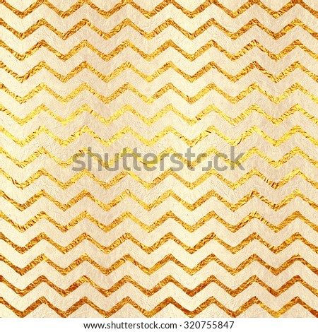 Faux Light Gold Foil Chevron Glitter Texture Pattern - stock photo