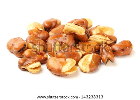 fava bean, roasted and salty on white background - stock photo