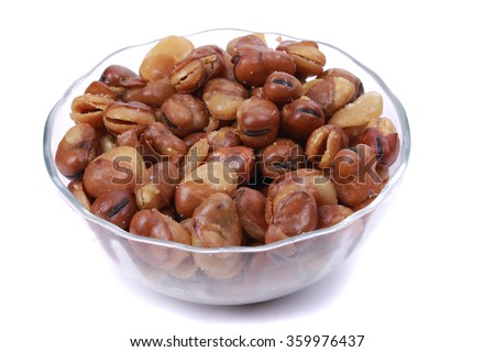 Fava beans in a glass bowl - stock photo
