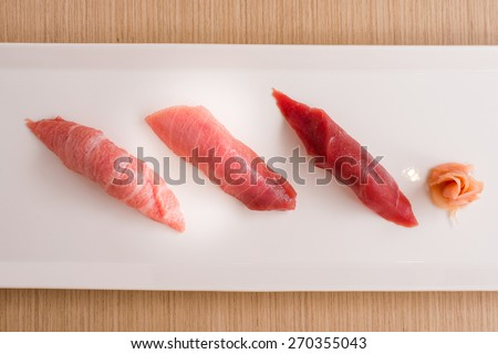 favorite maguro Japanese sushi from blue fin tuna fish - Otoro , Chutoro , Akami - Simply but luxury  - stock photo