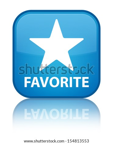 Favorite (star icon) glossy blue reflected square button - stock photo