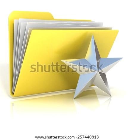 Favorites, star folder icon, 3D render illustration, isolated on white background - stock photo