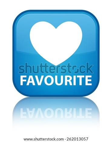 Favourite (heart icon) cyan blue square button - stock photo