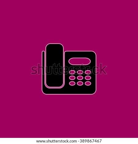 Fax machine. Black simple flat icon with white stroke - stock photo