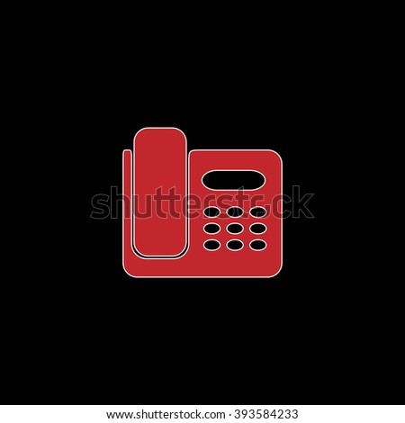 Fax machine. flat symbol pictogram on black background. red simple icon with white stroke - stock photo