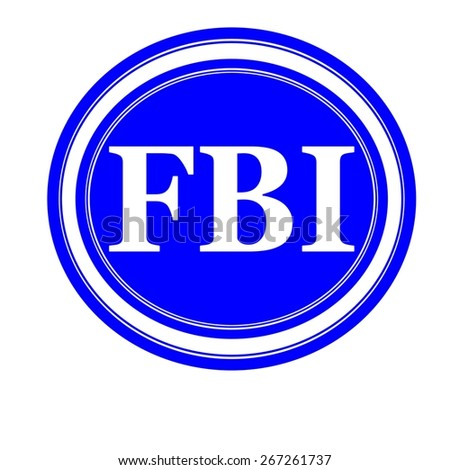 FBI white stamp text on blue background - stock photo