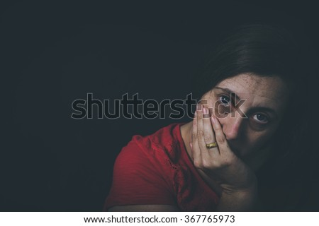 Fear, loneliness, depression, abuse, addiction  - stock photo