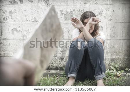 Fear, loneliness, depression, abuse. Selective focus  - stock photo
