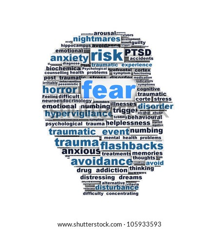 Fear symbol conceptual design isolated on white background. Mental health symbol - stock photo