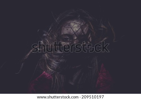 Fear, Young girl with hair flying, concept nightmares - stock photo