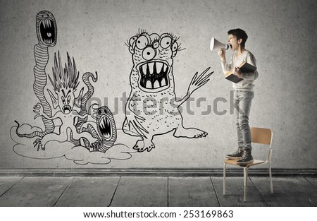 Fearless boy  - stock photo