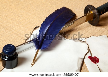 Feather and letter with a japanese sword - stock photo