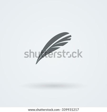 Feather Icon. Logo. Pictogram. Button. - stock photo