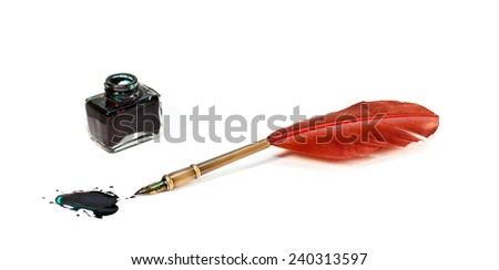 Feather pen near the inkwell. Isolated on a white background             - stock photo