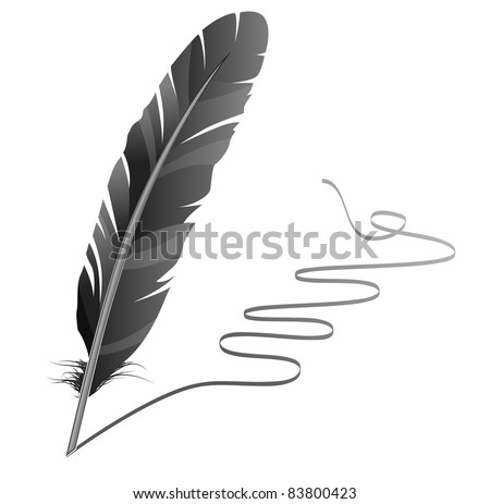 Feather. Raster version. - stock photo