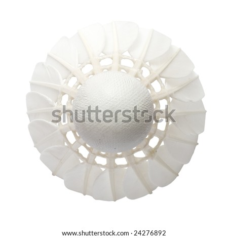 Feather shuttlecock face on, isolated on white background - stock photo