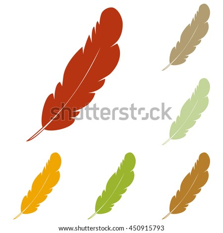 Feather sign illustration. Colorful autumn set of icons. - stock photo