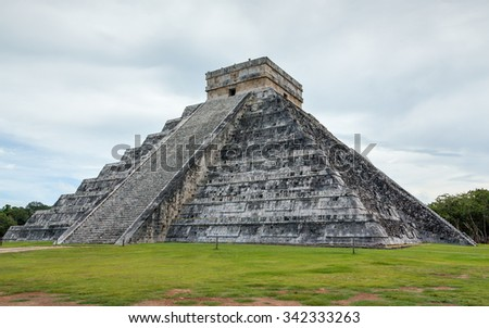 Feathered serpent pyramid in the ancient Inca city of Chichen Itza - Yucatan, Mexico - stock photo