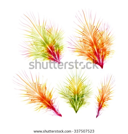 Feathers for Carnival masks. Set of Elements for Mardi Gras. Raster Illustration - stock photo