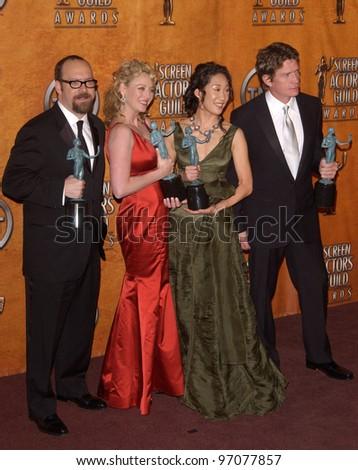 Feb 5, 2005; Los Angeles, CA: Sideways stars PAUL GIAMATTI, VIRGINIA MADSEN, SANDRA OH & THOMAS HAYDEN CHURCH at the 11th Annual Screen Actors Guild Awards at the Shrine Auditorium. - stock photo