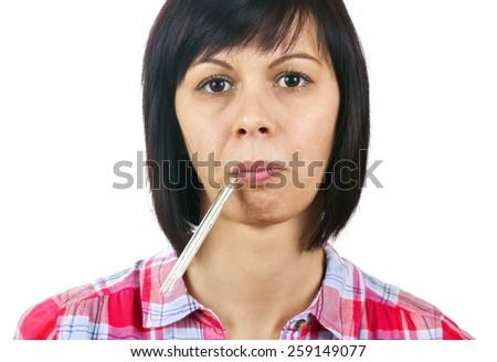 Febrile viral disease women - stock photo