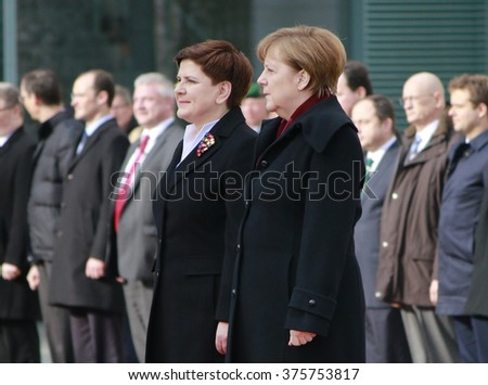 FEBRUARY 12, 2016 - BERLIN, GERMANY: German Chancellor Angela Merkel and Polish Prime Minister Beata Szydlo at a reception with military honours in the Federal Chanclery. - stock photo