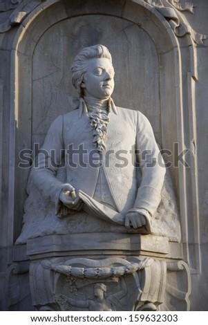 FEBRUARY 2011 - BERLIN: Monument of Wolfgang Amadeus Mozart in the Tiergarten park in Berlin. - stock photo