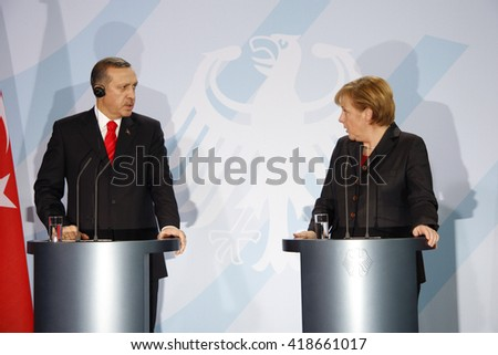 FEBRUARY 8, 2008 - BERLIN: Turkish then Prime Minister Recep Tayyip Erdogan and German Chancellor Angela Merkel at a press conference after a meeting, Chanclery.  - stock photo