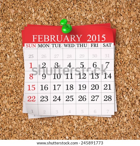February 2015  Calendar on cork board , 3d render - stock photo