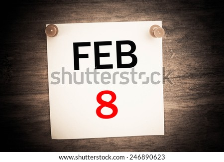 February 8 calendar on note paper   - stock photo