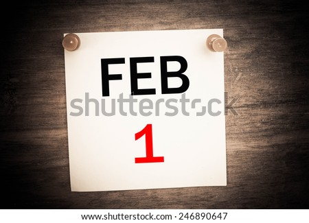February 1 calendar on note paper   - stock photo