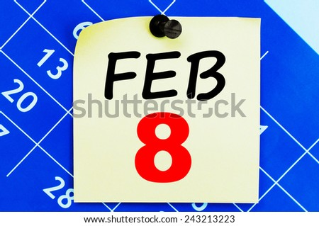 February 8 Calendar. Part of a set - stock photo