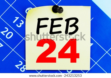 February 24 Calendar. Part of a set - stock photo