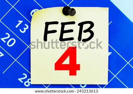 February 4 Calendar. Part of a set - stock photo