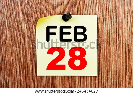 February 28 Calendar. Part of a set - stock photo
