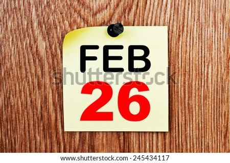 February 26 Calendar. Part of a set - stock photo