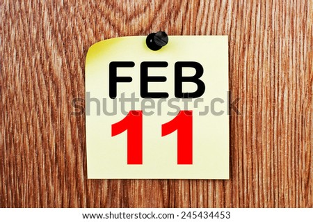 February 11 Calendar. Part of a set - stock photo