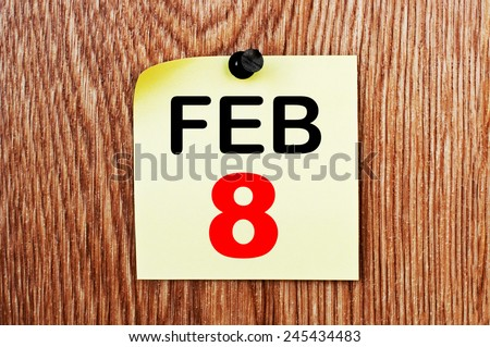 February 8 Calendar. Part of a set - stock photo