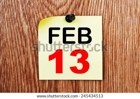 February 13 Calendar. Part of a set - stock photo