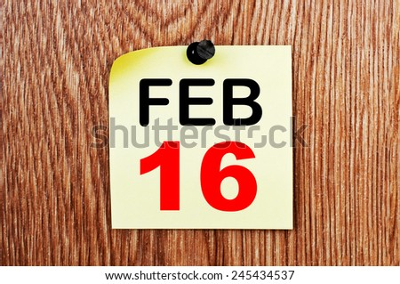 February 16 Calendar. Part of a set - stock photo