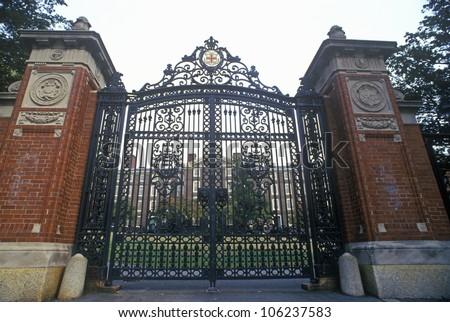 FEBRUARY 2005 - Gates at entrance to Brown University, Providence, RI - stock photo