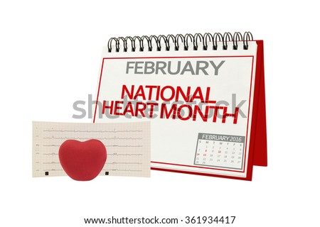 February National Heart Month Electrocardiograph Red Heart isolated on white background - stock photo