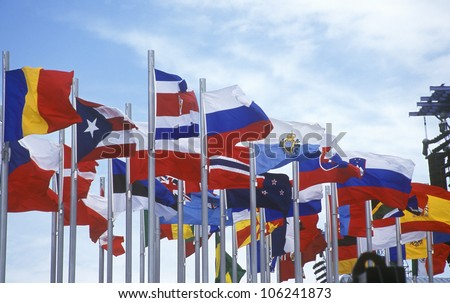 FEBRUARY 2005 - Olympic flags flying during 2002 Winter Olympics, Salt Lake City, UT - stock photo
