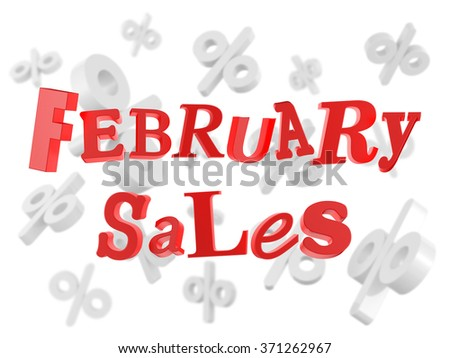 February sales red funny text - stock photo