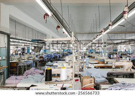 FEBRUARY 28.2015: TANGIER, MOROCCO: In the picture we can see one of the hundreds of industrial production chains preparation with all the machines that are in Morocco - stock photo