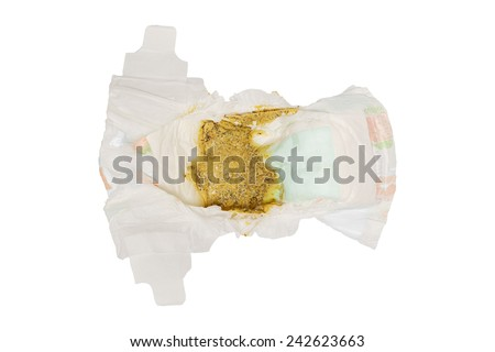 feces Baby 5 Months healthy in diapers , Baby eat  Milk and bananas ,normal,  isolated on white - stock photo