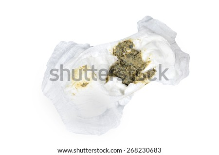 feces Baby 8 Months healthy in diapers , Baby eat Milk and bananas ,normal, isolated on white - stock photo