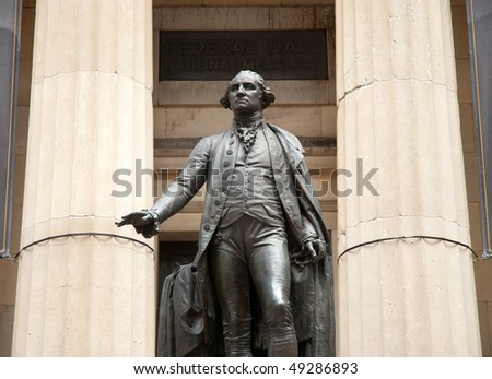 Federal Hall and George Washington statue - stock photo