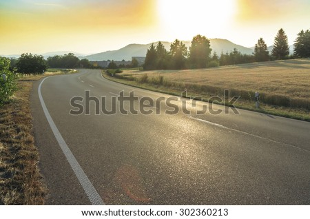 Federal highway in Germany at dawn. - stock photo