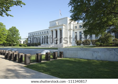 Federal Reserve building in Washington DC in the morning - stock photo